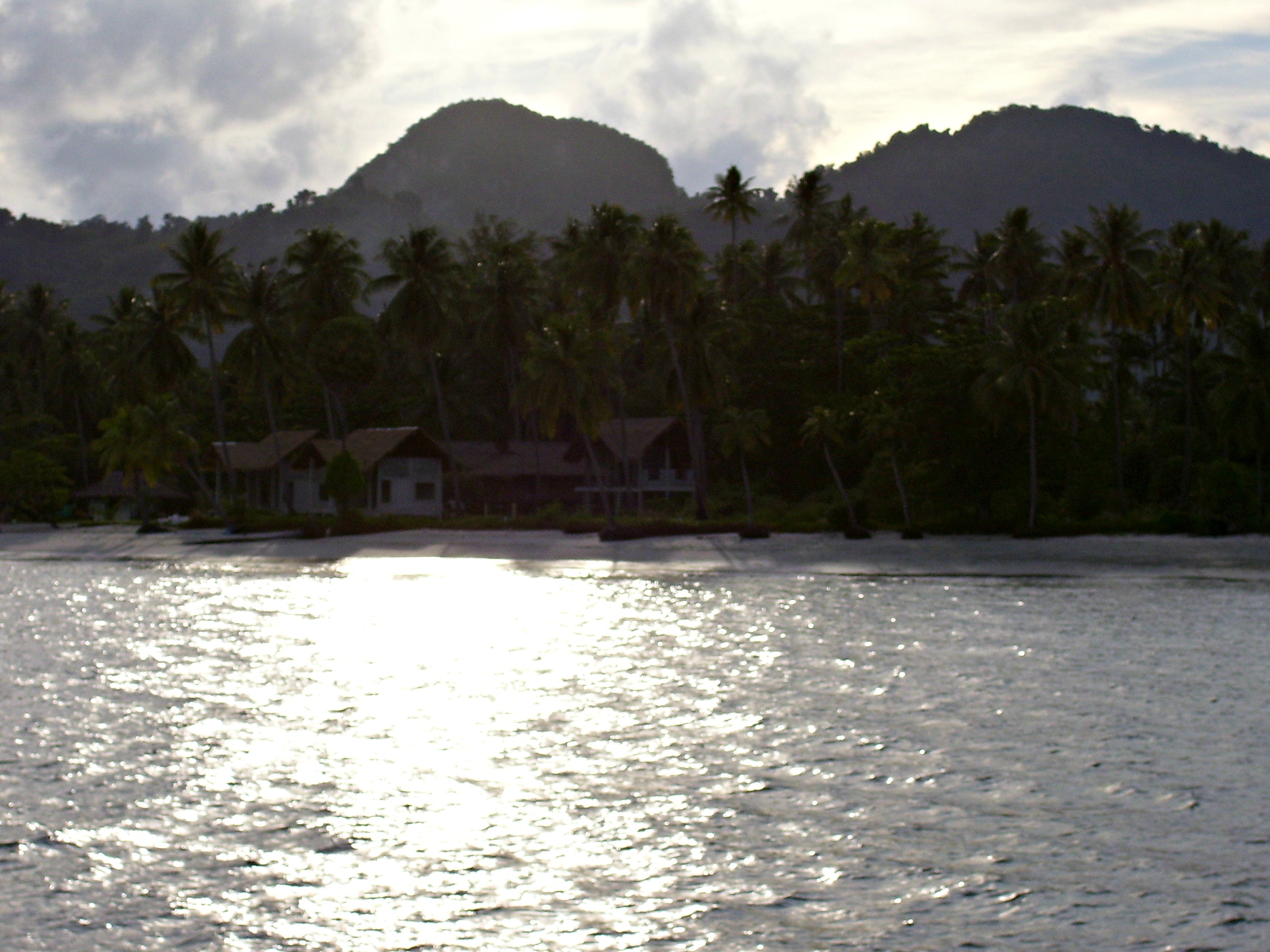Stranded in paradise on our sailing trip: the view from our anchorage at Ko Muk