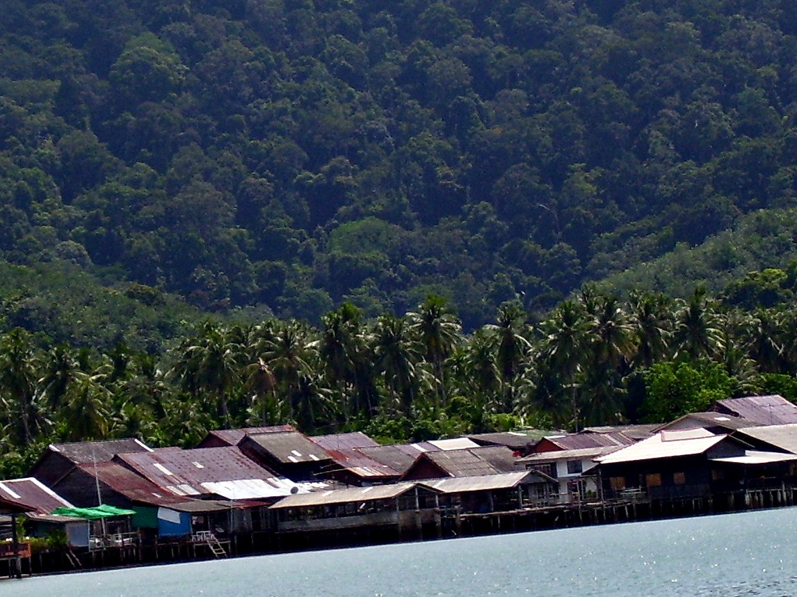 Ko Lanta Old Town at high tide, seen from our anchorage