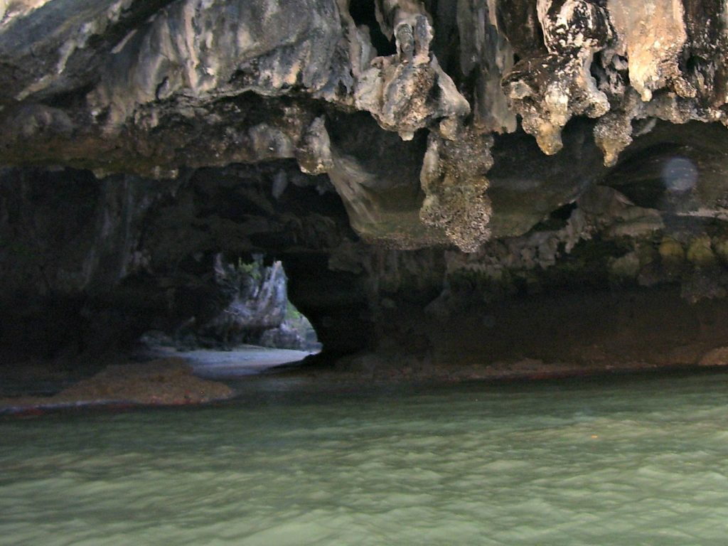 Sea cave entrance. Sea caves were a highlight of our sailing trips in Thailand