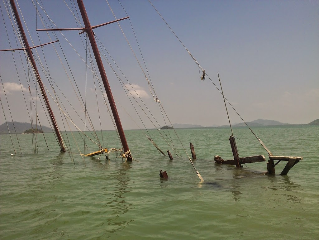 This yacht in our anchorage at Koh Lanta (sailing from Phuket to Langkawi) was sunk by politics apparently