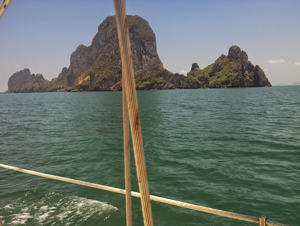 The unmistakable limestone karst geology of the islands between Phuket and Langkawi