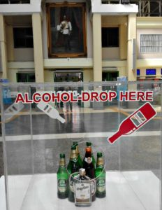 Bangkok Train Station encourages you to leave you booze here.